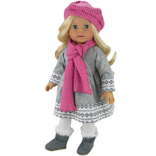 "Gray Fair Isle Dress 4 Piece Set Fits 18""  American Doll"