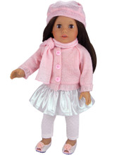 "Silver Skirt, Pink Cardigan, Sparkle Leggings Set For 18"" Dolls"