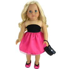 18 Inch Doll Fuchsia & Black Party Dress & Wristlet  FINAL CLEARANCE