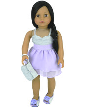 Lavender Chiffon & Silver Sparkle Party Dress & Wristlet Fit American Doll