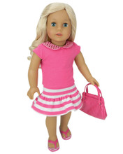 "Pink & White Stripe Skirt with Pink Sparkle Collar Tee Set For 18"" Dolls"