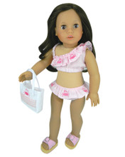 "Embroidered Seersucker Bikini & Tote Bag Fits 18"" Dolls"