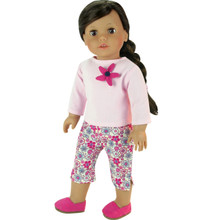 "Pink 3/4 Sleeve Tee & Flower Print Capris fits 18"" American Girl Dolls  FINAL CLEARANCE"
