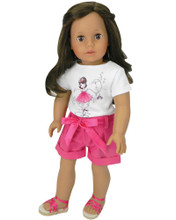 "Sophia's Hot Pink Shorts & Dance Graphic Tee Set for 18"" Dolls"