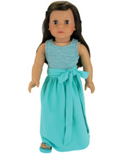 "Aqua Maxi Skirt and Aqua & Gray Stripe Tank Top fits 18"" American Girl Dolls"