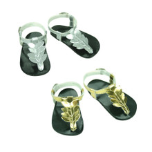 "Metallic Flower Thong Sandals Fits 18"" American Girl Dolls"