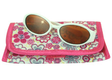 White Plastic Sunglasses & Flower Print Sunglasses Case