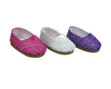 Glitter Slip On Espadrilles for 18 inch Dolls fits American Girl Shoes