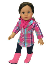 "Sophia's Hot Pink & Teal Plaid Blouse, Jeggings & Bandana Set For 18"" Dolls"