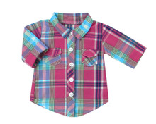 Hot Pink & Teal Plaid 18 inch Doll Blouse  Fits American Girl