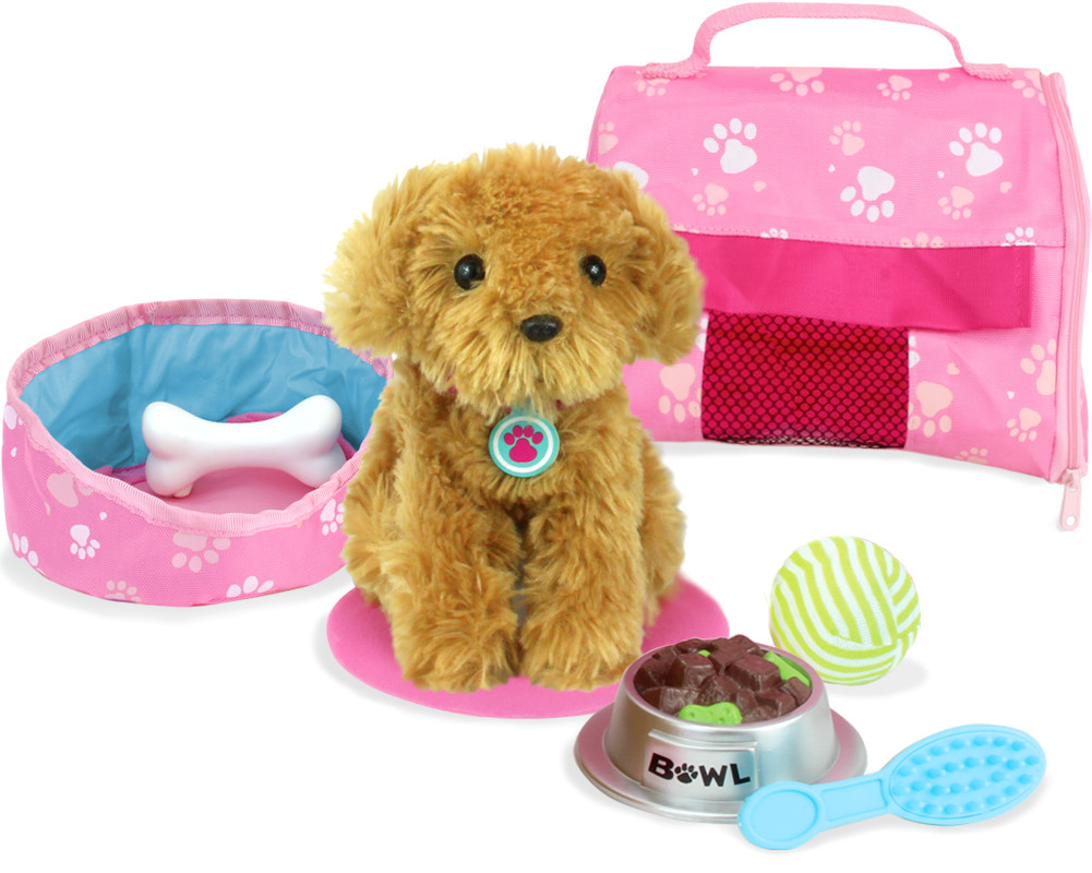 Plush puppy carrier accessory set my doll 39 s life for Kitchen set for 9 year old