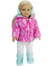 "Sophia's Flower Print Snow Parka & White Snowboard Pants Fit 18"" Dolls"