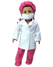 18 Inch Doll Doctor Scrubs, Lab Coat, Mask , Hat & Booties, 6 Pc Set fits American Girl
