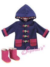 Purple Hooded Toggle Coat w/ Hot Pink Trim fits My Life Dolls