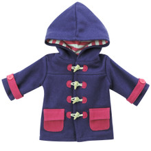 "Sophia's Purple Hooded Toggle Coat w/ Hot Pink Trim Fits 18"" Dolls"