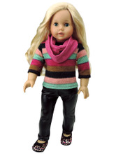 "Leather Pants , Stripe Sweater & Scarf 3 piece set fits American Girl 18"" Doll"