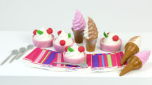 "18"" Doll Food: Ice Cream Cone & Frozen Yogurt Cups Set"