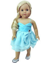 18 In Aqua Ruffle Dress with Jewel Accent & Headband fits 18 Inch Dolls