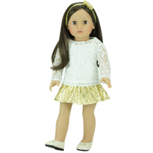 "Gold Metallic Skirt & Ivory Lace Top Set Fits 18"" Dolls"