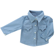 "Denim Chambray 18"" Doll Shirt w/ Pearl Buttons fits American Girl"