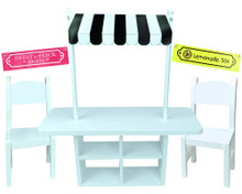 "Concession Table, 2 Chairs & Set of 3 Banner Signs for 18"" Dolls"