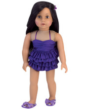 "Sophia's Purple Ruffle Tankini For 18"" Dolls"
