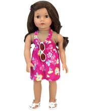 2 Piece Hot Pink Hawaiian Print Dress & White Plastic Sunglasses. Fits 18 inch Doll.