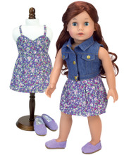 "18"" Doll Dress Purple Floral Print Dress & Denim Vest 2 Piece Set"