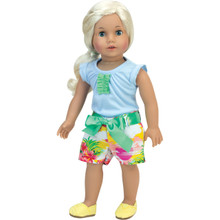 2 Piece Set Light Blue T & Hawaiian Print Shorts, Fits 18 Inch Dolls