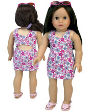"Sophia's Floral Print Summer Dress & Hot Pink Sunglasses Set For 18"" Dolls"