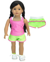 "Sophia's Lime Running Shorts, Pink Tank and White Sports Bra Set for 18"" Dolls"