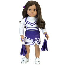 "4-Piece Set: 18"" Purple Cheerleader Skirt, Vest, Tee & Pom-Poms"