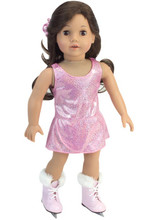 3 pc Pink 18 Inch Doll Ice Skating Dress  w/ Pink Fur Trimmed Ice Skates