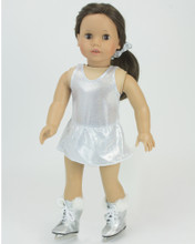3 pc Sparkle Silver Ice Skating Dress, Hair Scrunchie & Silver Fur Trimmed Ice Skates