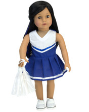 Two-Piece Royal Blue Cheerleader Dress & White Pom-Poms