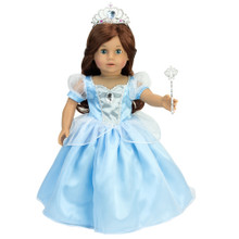 3 Piece Costume Set Light Blue, White & Silver Princess Dress, Wand & Heart Tiara Set