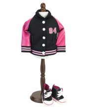 "Hot Pink & Black ""94"" Varsity Jacket, Fits 18 inch Dolls"