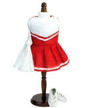 Two-piece Red Cheerleader Dress & White Pom-Poms