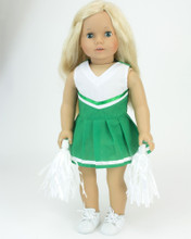 Two-Piece Kelly Green Cheerleader Dress & White Pom-Poms