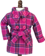 Hot Pink Plaid Belted Coat, fits 18 inch doll