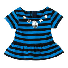 Cornflower Blue & Black Stripe Peplum T w/ Jeweled Collar fits 18 inch doll
