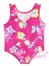 Pink Print One-Piece Bathing Suit fits 18 inch dolls