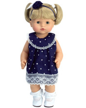 "3 pc 15"" Baby Navy Polka Dot Lace Trim Dress, Panties & Headband."