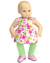 "Floral Print Dress & Lime Stripe Leggings Set For 15"" Dolls"