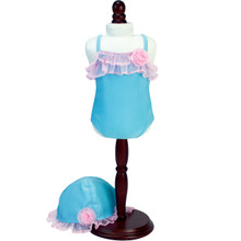 "Blue & Pink Bathing Suit & Sun Hat For 15"" Baby Dolls"