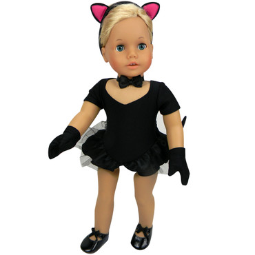 Sophia's Black Jazz Leotard & Cat Costume  For 18 Inch Dolls