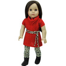 Red Sweater Dress, Tan Animal Print Leggings & Tie Belt fits American Girl
