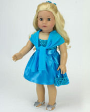 "Turquoise Satin 18"" Doll Dress 4 piece set"