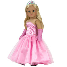 "Pink Ball Gown, Long Gloves & Silver Jeweled Heart Tiara fits 18"" American Girl"