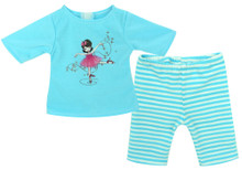 Aqua Ballerina Print Top & Striped Leggings Pajama Set